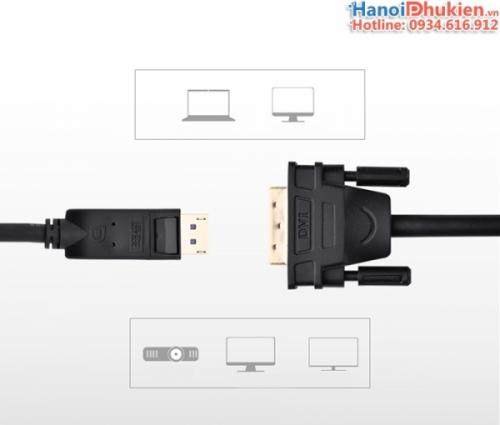 Cáp chuyển đổi Displayport sang DVI-D 24+1 dài 8M Ugreen 10224