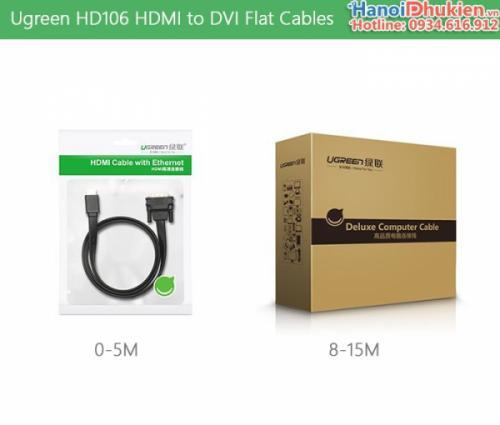 Cáp HDMI sang DVI-D 24+1 dây dẹt 15M Ugreen 30142