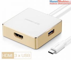 Cáp Thunderbolt 3 sang HDMI, 3xUSB hỗ trợ sạc cho Macbook Pro 13, 15, 12