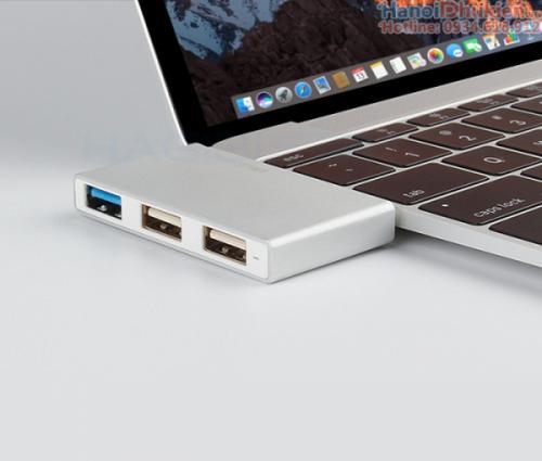 Bộ chia USB Type C ra 3 cổng USB vỏ nhôm Hagibis cho New Macbook, Dell XPS