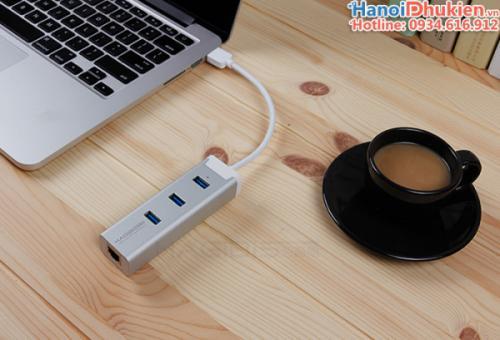 Bộ chia USB 3.0 - 1 ra 3, LAN 100/1000 Gigabits Hagibis vỏ nhôm Aluminium