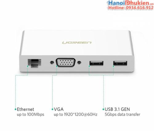 Cáp chuyển USB-C (Thunderbolt 3) ra VGA, LAN, USB Ugreen 40378