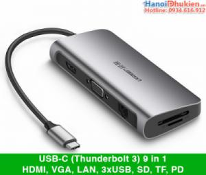 Cáp USB-C (Thunderbolt 3) Full 9 in 1 HDMI, VGA, LAN, USB, SD, TF, PD Ugreen 40873