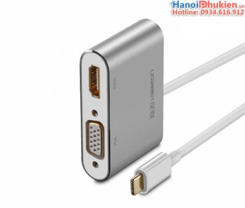 Cáp chuyển đổi USB-C ra HDMI, VGA Ugreen 50317 vỏ nhôm cao cấp