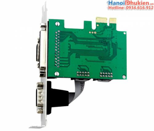 Card chuyển đổi PCI-E to 2 RS232, DB25 Parallel chipset WCH382