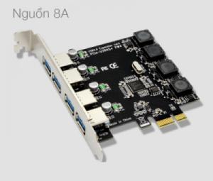 Card chuyển đổi PCI-E to 4 USB 3.0 NEC720201 chip, hỗ trợ nguồn ra 8A