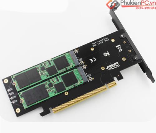 Card PCIe 16x to 4 SSD M2 NVMe hỗ trợ RAID