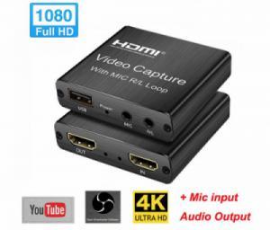 Thiết bị ghi hình, live stream HDMI USB 2.0 hỗ trợ mic, HDMI loop