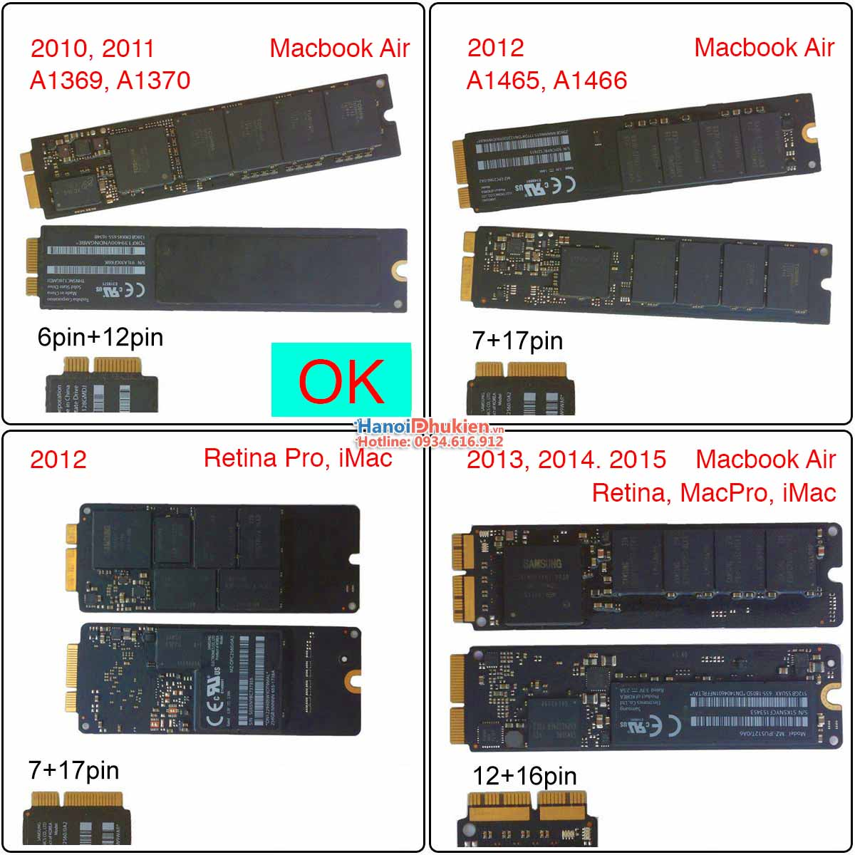 Adapter SSD Macbook Air 2010, 2011 to SATA 7+15Pin