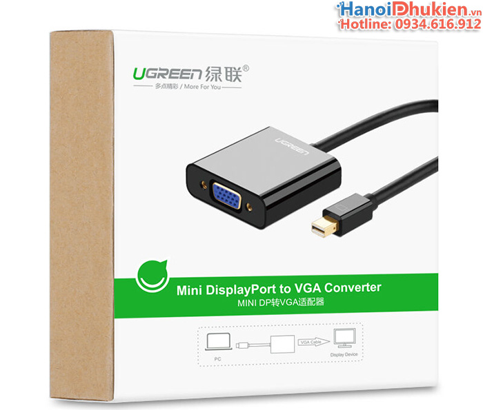 Cáp Mini Displayport, Thunberbolt to VGA Ugreen 10459 màu đen