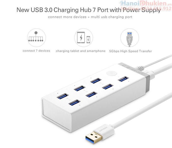 Bộ chia USB 3.0 - 7 cổng Ugreen 20296 hỗ trợ nguồn ngoài 12V