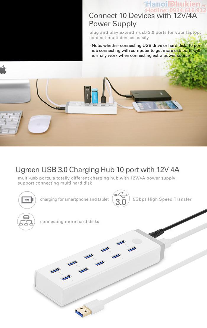 Bộ chia USB 3.0 - 10 cổng Ugreen 20297 hỗ trợ nguồn ngoài 12V