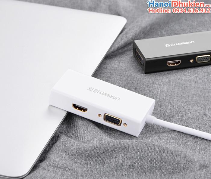 Cáp kết nối Macbook Air, Macbook Pro ra Tivi, máy chiếu HDMI, VGA, DVI Ugreen 20417