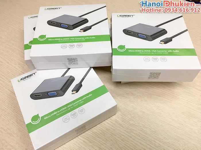 Cáp chuyển đổi Micro HDMI to VGA và HDMI Ugreen 30355