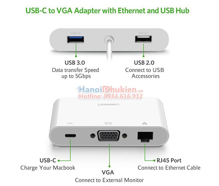 Cáp kết nối Macbook Pro 12, 13, 15 ra LAN, VGA, USB 3.0 hỗ trợ sạc Ugreen 30439