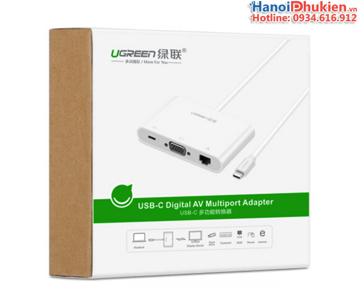 Cáp kết nối Macbook Pro 12, 13, 15 ra LAN, HDMI, USB 3.0 hỗ trợ sạc Ugreen 30439