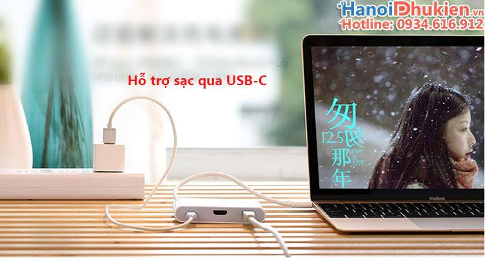 Cáp kết nối Macbook Pro 12, 13, 15 ra LAN, HDMI, USB 3.0 hỗ trợ sạc Ugreen 30440