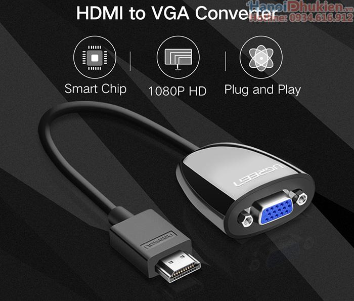 Cáp chuyển đổi HDMI sang VGA Ugreen 40253, 40252 chính hãng