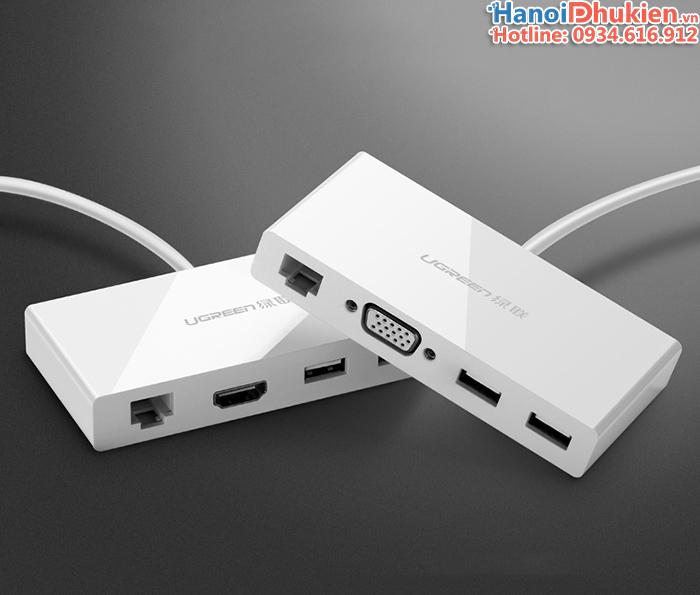Cáp chuyển USB-C (Thunderbolt 3) ra HDMI, LAN, USB Ugreen 40377