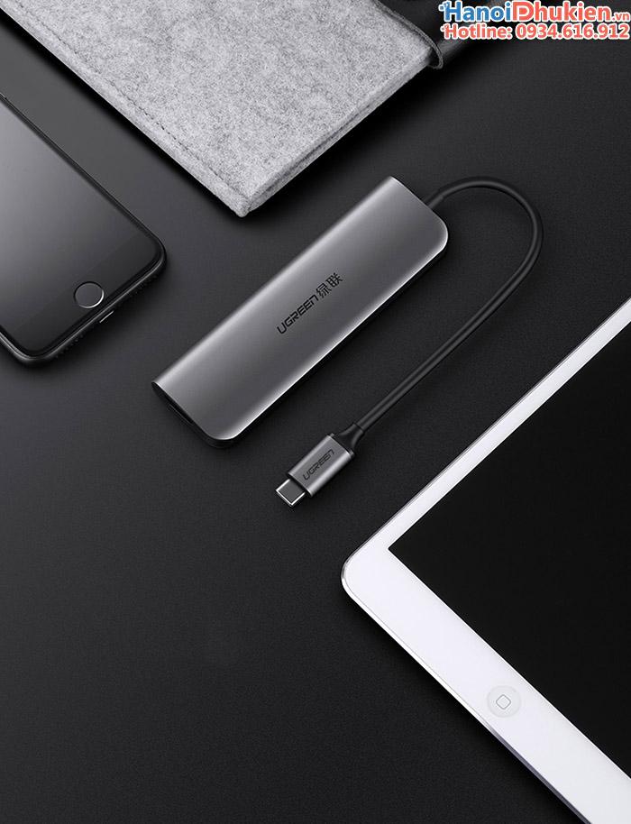Cáp USB-C (Thunderbolt 3) 5 in 1 ra HDMI, 3 cổng USB 3.0 hỗ trợ sạc PD Ugreen 50209