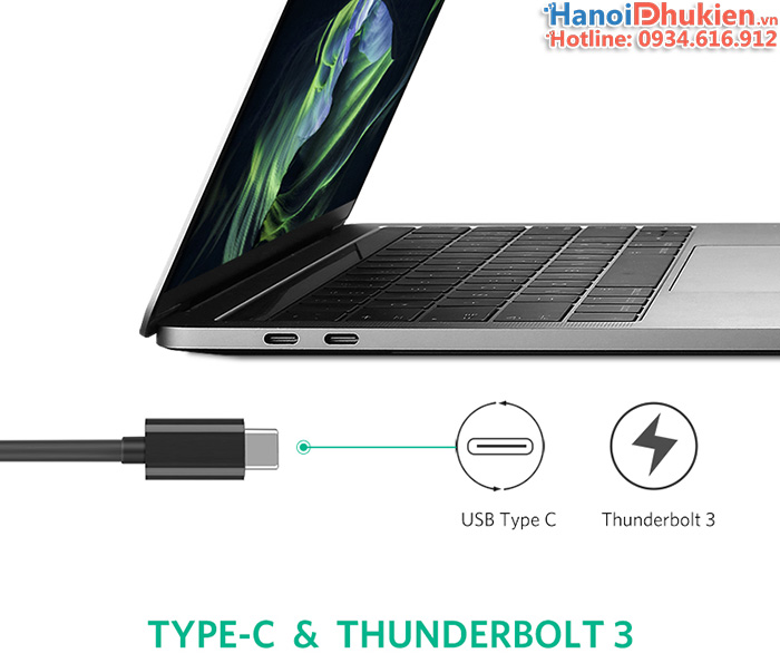 Cáp Thunderbolt 3 to LAN 1000 Mb Gigabit Ugreen 50307