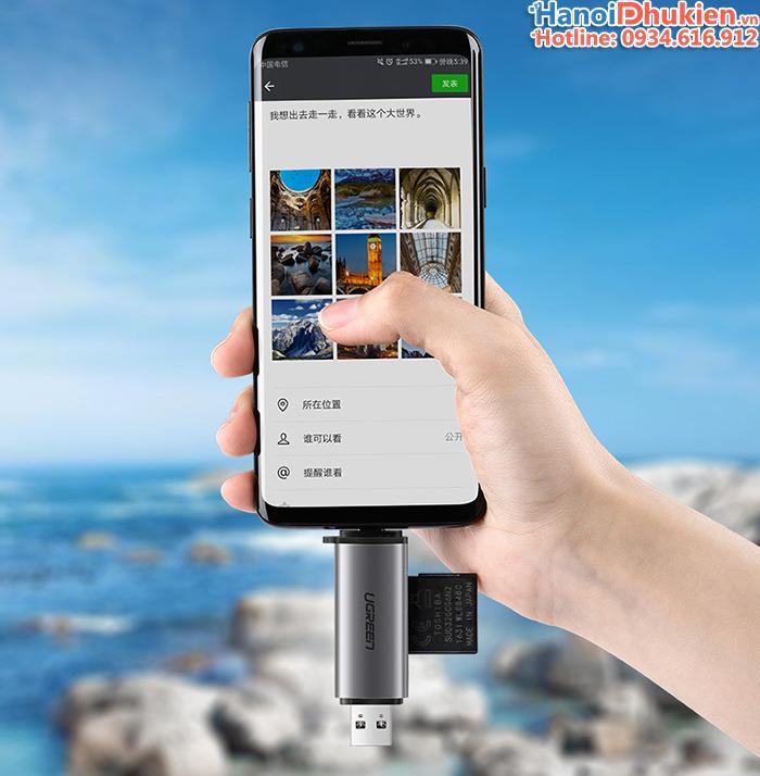 Đầu đọc thẻ nhớ SD, TF chân Type C, USB 3.0 Ugreen 50706