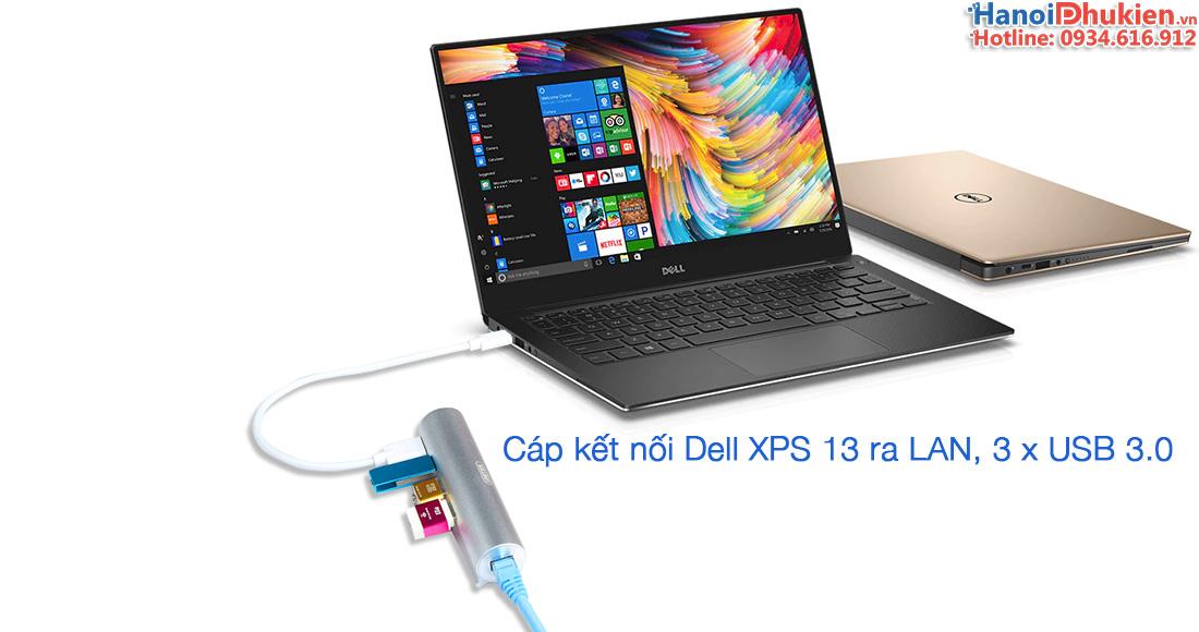 kết nối Dell XPS 13 ra cổng mạng LAN Ethernet, USB 3.0