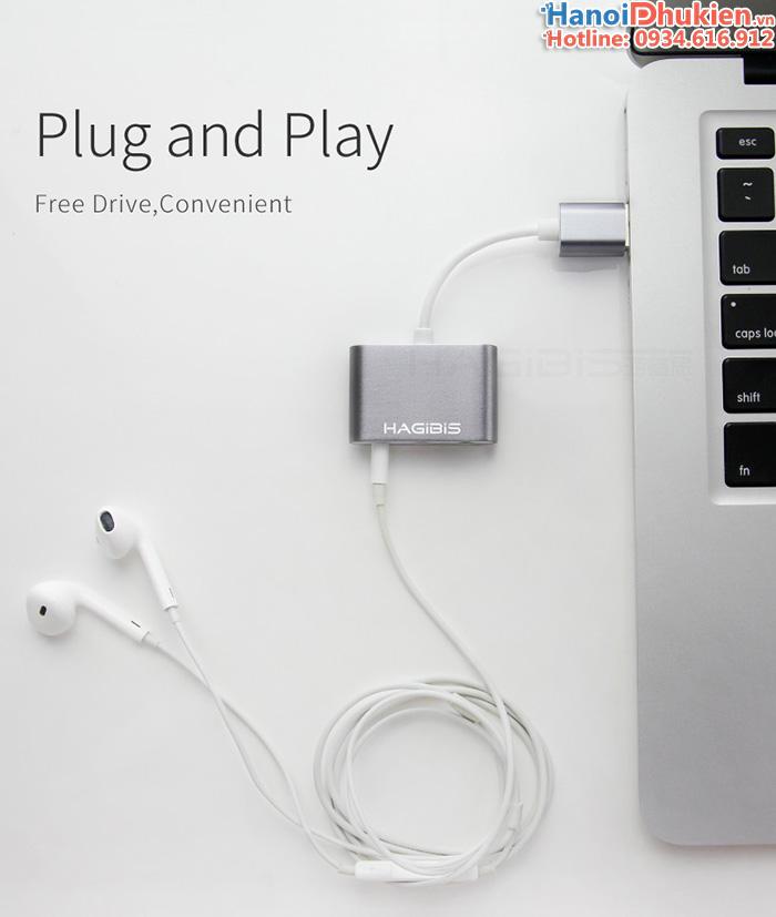 Cáp chuyển cổng Micro, tai nghe ra USB Hagibis vỏ nhôm
