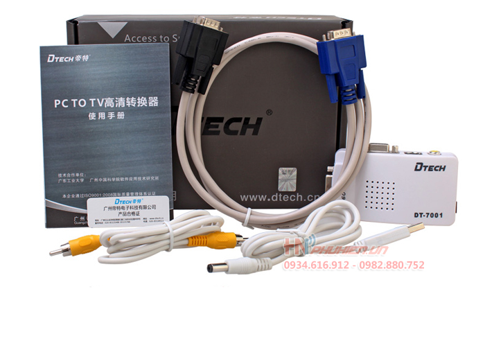 bo chuyen doi vga to av, svideo dtech dt-7001