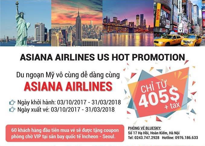 Khuyến Mãi Khủng Đi Mỹ Từ Asiana Airlines