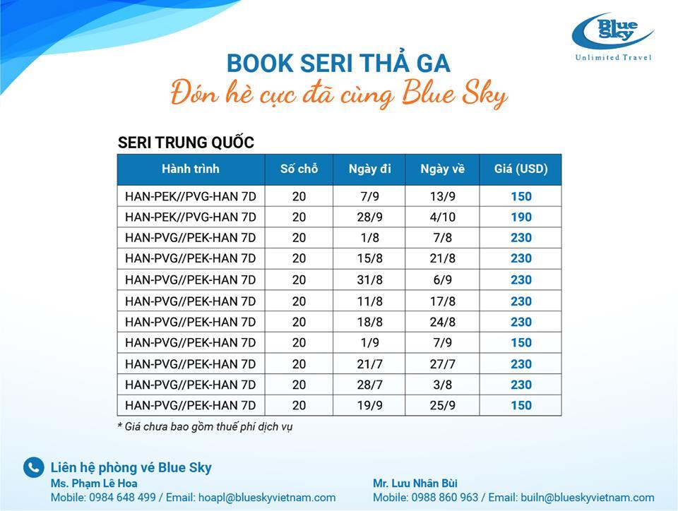 Seri booking siêu TỐT từ Blue Sky: đến Trung Quốc chỉ từ 150 USD