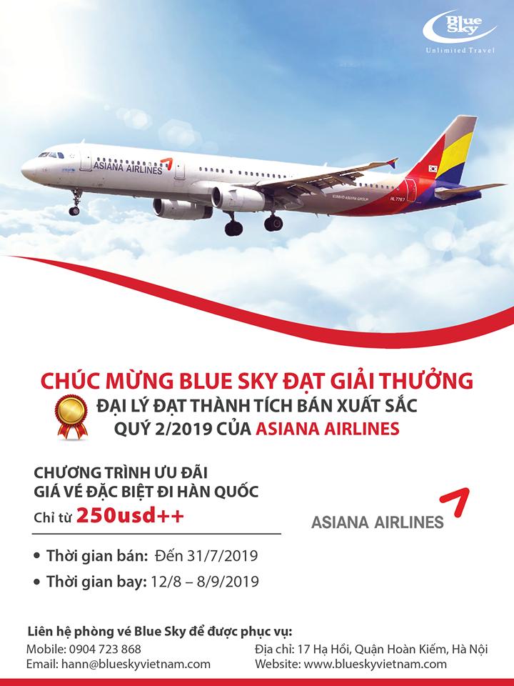 Blue Sky đạt danh hiệu đại lý có thành tích bán xuất sắc của Asiana Airlines