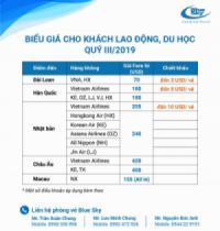 Blue Sky triển khai biểu giá vé cho khách lao động và du học quý 3/2019