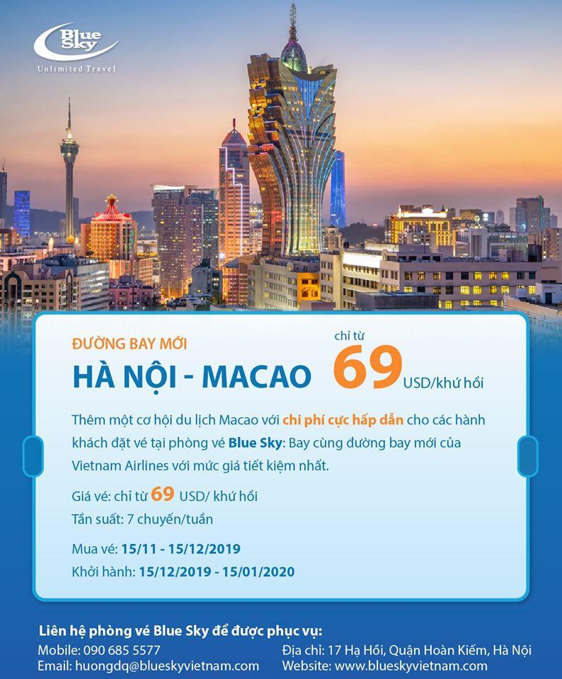 Bay Macao giá HOT, chỉ từ 60 USD cho hành trình khứ hồi