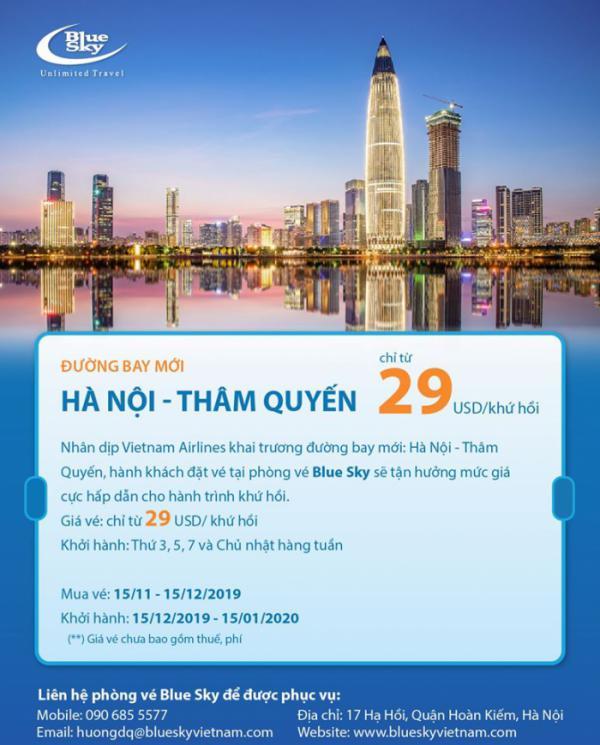Đường bay mới Hà Nội - Thâm Quyến giá chỉ từ 29 USD