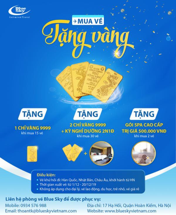 Mua vé máy bay - Nhận quà 9999 từ Blue Sky Việt Nam