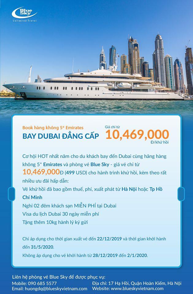 Siêu ưu đãi từ Emirates: Bay Dubai chỉ từ 10,469,000Đ
