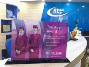Blue Sky vinh dự là Đại lý TOP đầu của Qatar Airways