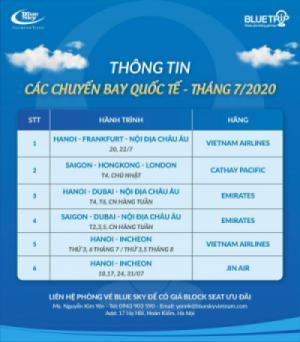 Phòng vé Blue Sky cập nhật thông tin các chuyến bay quốc tế tháng 7/2020