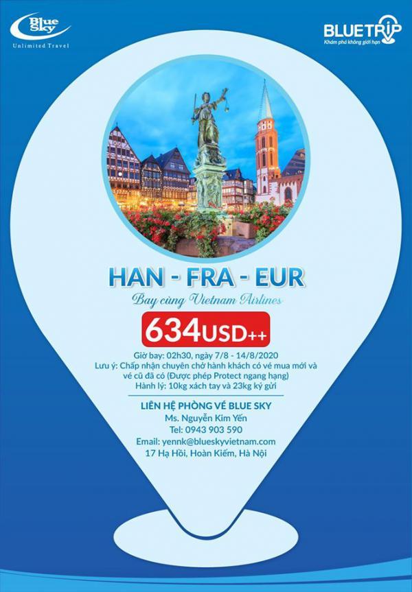 Book vé tại Blue Sky - Bay châu Âu giá chỉ từ 634 USD