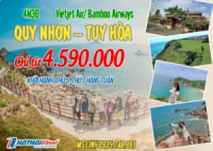 QUY NHƠN – TUY HÒA 4N3Đ bay Vietjet Air/Bamboo Airways